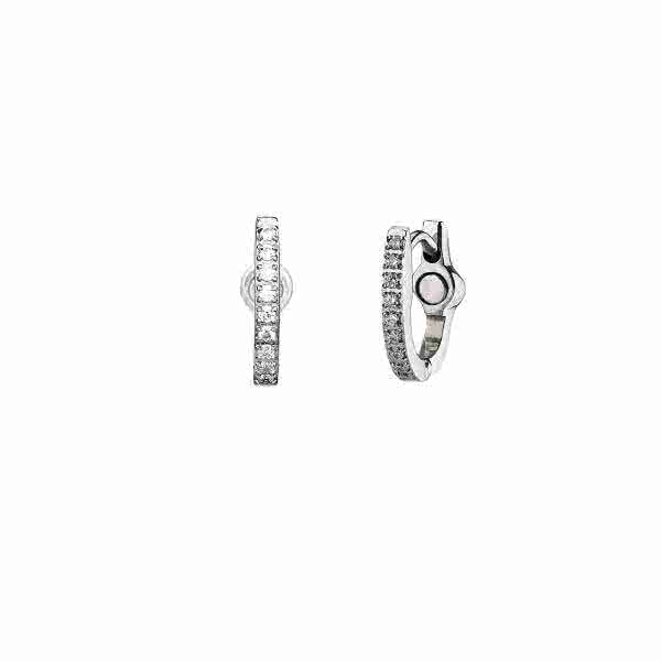 Creolen Regia: Magnet-Ohrringe mit Kristallen – silber