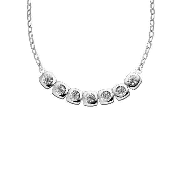 Magnet-Halskette Cubic mit sieben weißen Zirkonia-Steinen