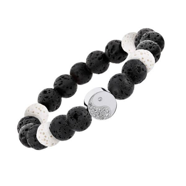 """Elastisches Lavaperlen-Armband """"Yin & Yang"""" mit Magneten & Duftwirkung – schwarz / weiß"""