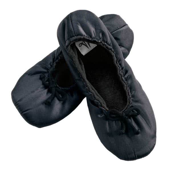 Satin slippers with magnets black