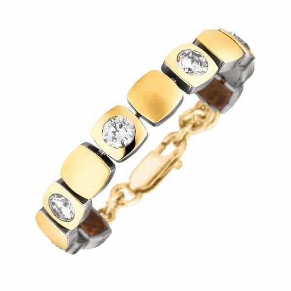 Magnet-Armband Cubic-Design matt/glänzend goldfarben