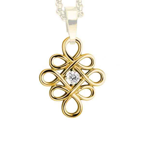 Magnetanhänger Keltischer Knoten, goldfarben mit Zirkonia 30mm