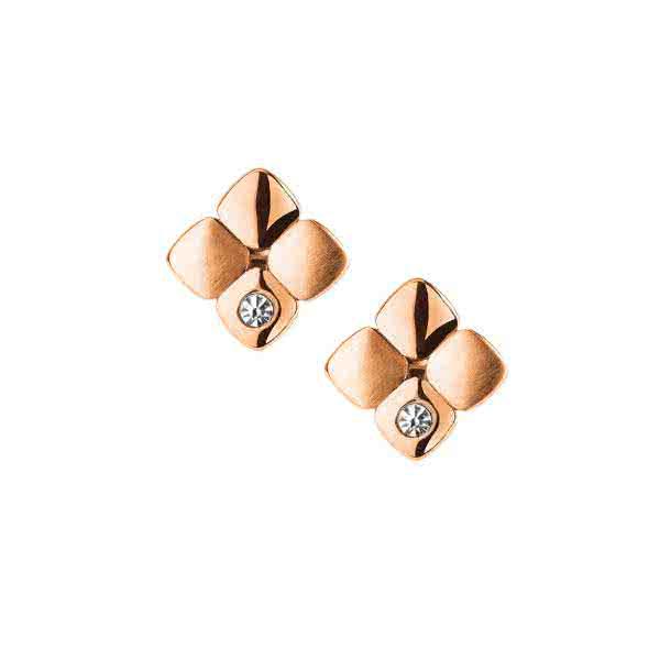 Magnet-Ohrringe Cubic Design mit glitzernden Kristallen – roségold