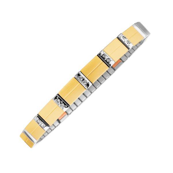 Flexibles Magnetarmband Matt-Glanz-Kontrast bicolor mit Kupfer-Elementen und Kristallen