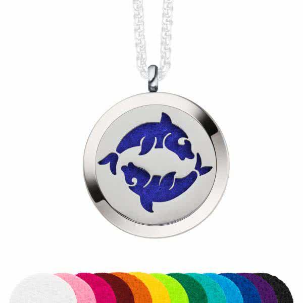 SET: Magnetanhänger 30 mm, Fische Schmuckscheibe & Deckel