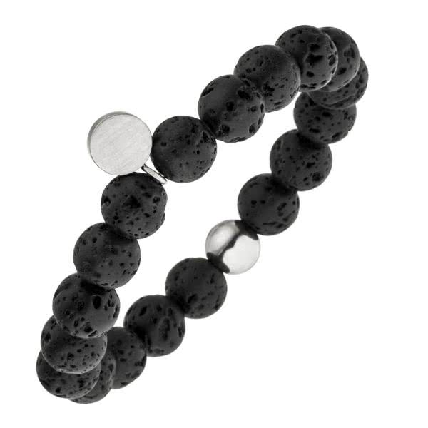 Elastic magnetic bracelet made of black lava beads scent diffuser