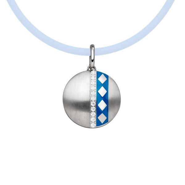 Pendentif magnétique Losanges médaillon grand bleu/couleur argent