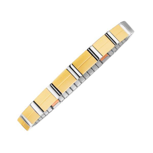 Flexibles Magnetarmband Matt-Glanz-Kontrast bicolor mit Kupfer-Elementen