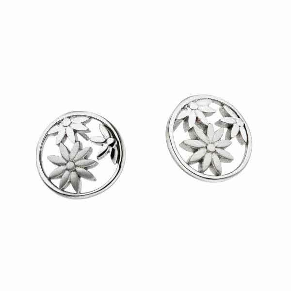 Boucles d'oreilles magnétiques, 14 mm, motif fleurs de jasmin, couleur argent
