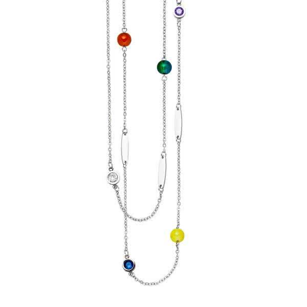 Lange Magnetkette mit Kristallen und Glasperlen in Chakrafarben