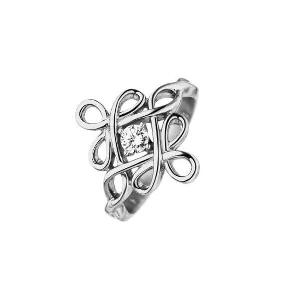 Magnetring Keltischer Knoten mit Zirkonia