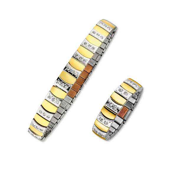 Magnetschmuck-Set: Flexi-Armband und Ring mit Zirkonia-Steinen, goldfaben