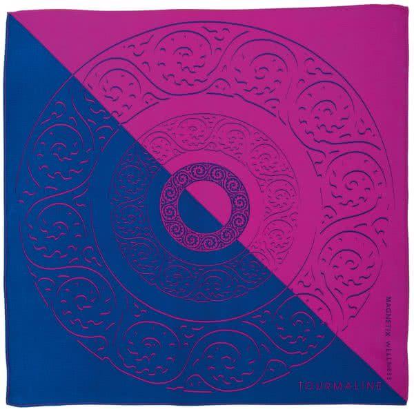 Silk scarf fuchsia-blue 90x90 cm