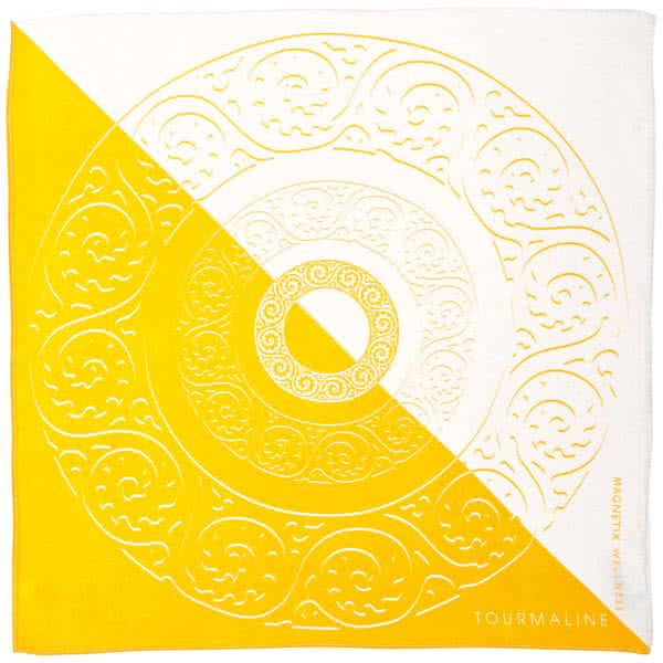 Silk scarf yellow-white 90x90 cm