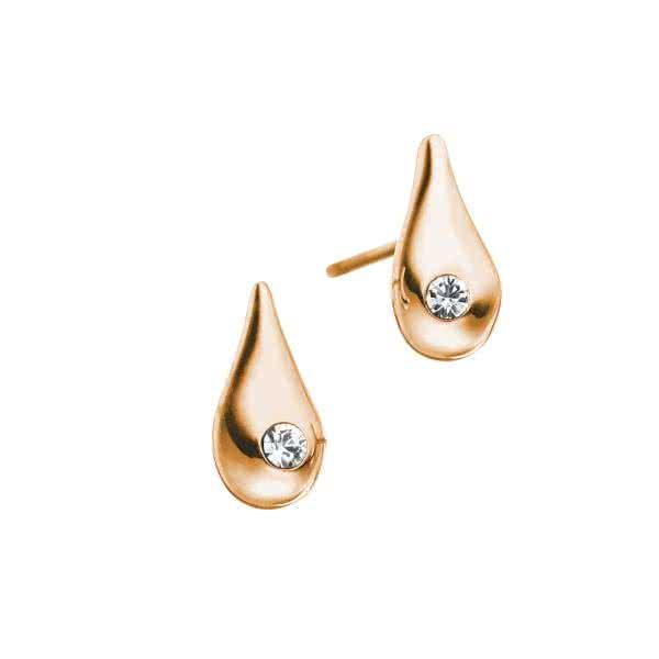 Magnet-Ohrstecker Water Drop mit Kristall-Steinchen – silber