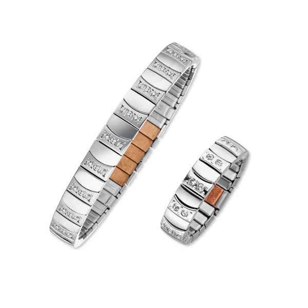 Magnetschmuck-Set: Flexi-Armband und Ring mit Zirkonia-Steinen, silberfarben