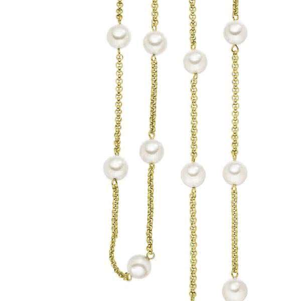 Lange Magnetkette mit Perlen, goldfarben, verwandelbar