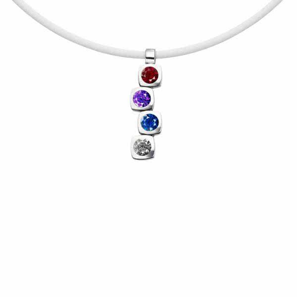 Magnetanhänger Cubic-Design mit vier Zirkonia-Steinen