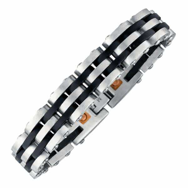 Magnetarmband Black Stripes Herrenarmband 13,5 mm breit