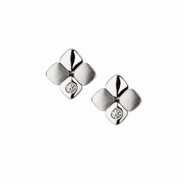 Magnet-Ohrringe Cubic Design mit glitzernden Kristallen – silber