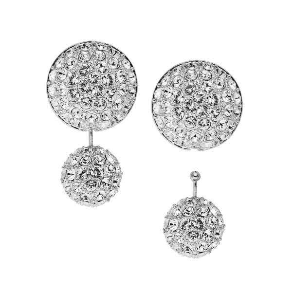 Stud earrings with pendants and cubic zirconia stones