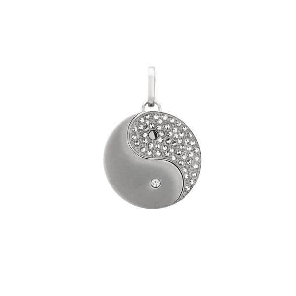 Yin-Yang Magnetanhänger groß mit Kristallen – silber