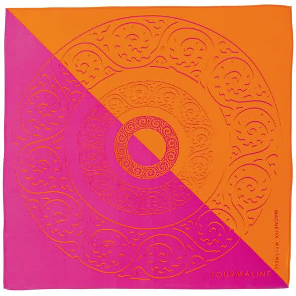 Seidentuch pink, orange 90x90 cm
