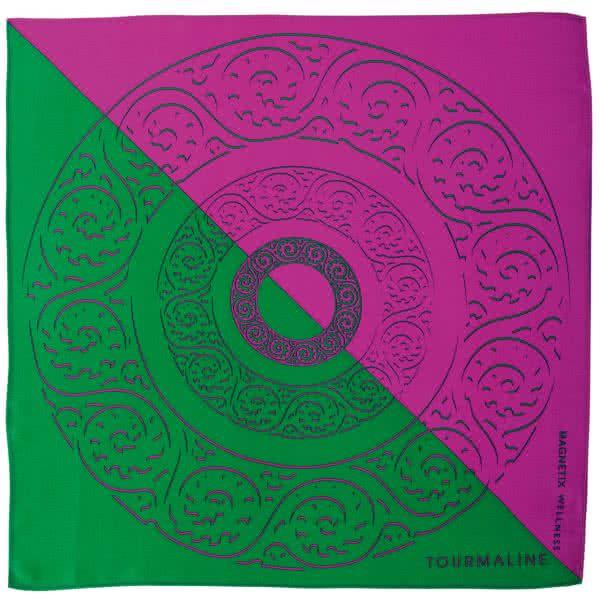 Silk scarf fuchsia-green 90x90 cm
