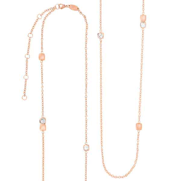 Magnet-Halskette Cubic Design, lang (100cm) mit Kristallen – roségold