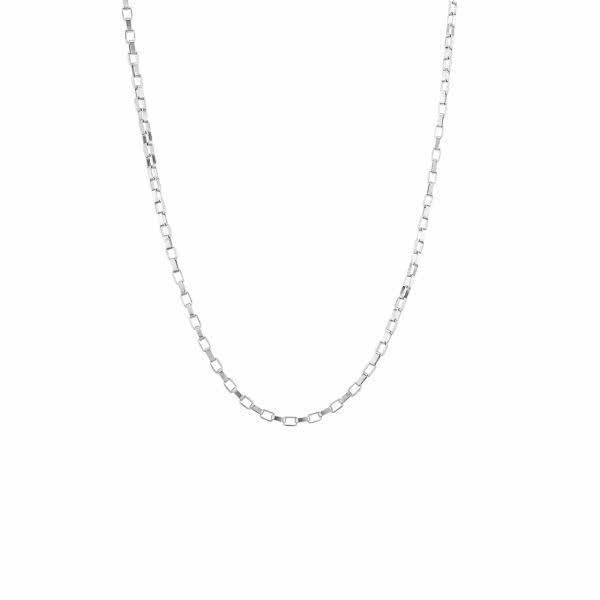 Glieder-Halskette mit Magneten (90 cm) – silber