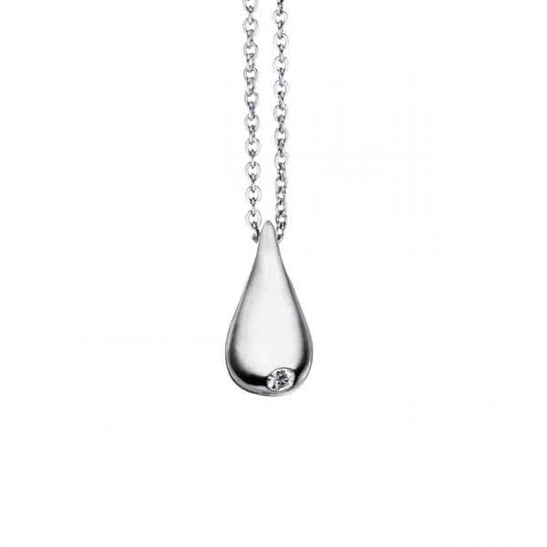 Kettenanhänger Water Drop klein, mit Zirkonia & Magneten – silber