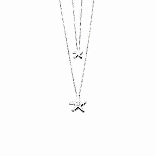 """Magnet-Doppelkette """"Seestern"""" mit Zirkonia silberfarben"""