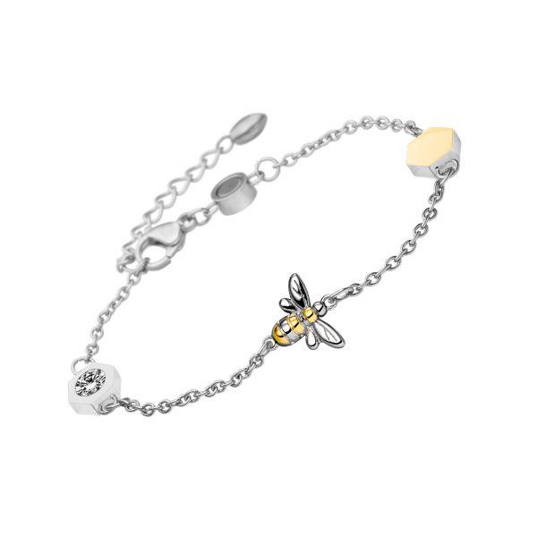 Magnetarmband Honeycomb bicolor mit Kristallen