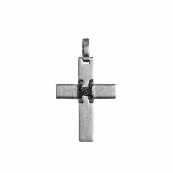 Magnetanhänger Kreuz-Anhänger silberfarben/schwarz im Matt-Glanz-Design