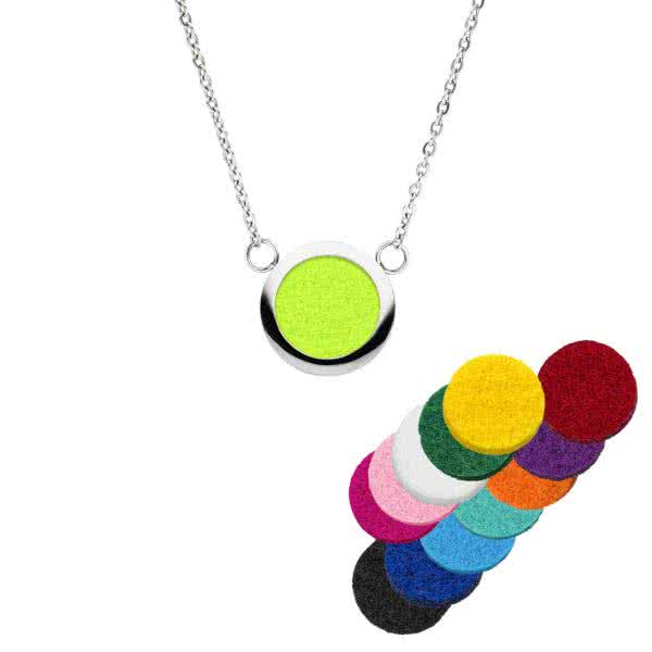 Magnetic necklace with scent pads in 13 colours