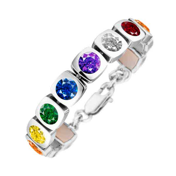 Magnetarmband Cubic-Design mit Chakra-Farben