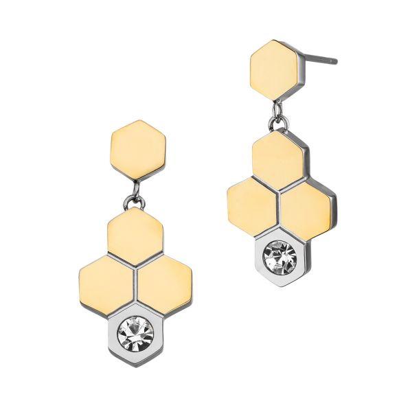 Magneettikorvakorut Honeycomb bicolor kristallilla