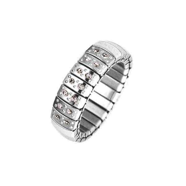 Flexi Ring Edelstahl mit Kristallen