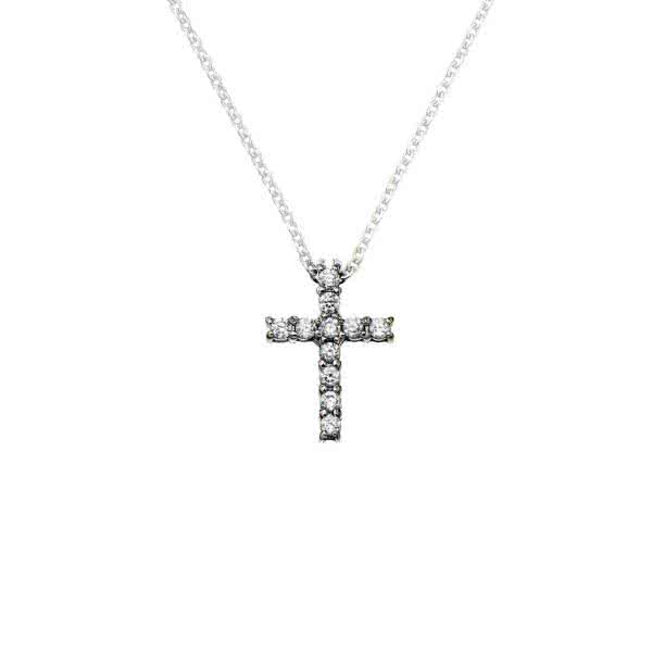 Cross pendant with sparkling cubic zirconia with magnetic power