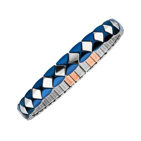 Flexible magnetic bracelet Carré blue-silver coloured with copper elements