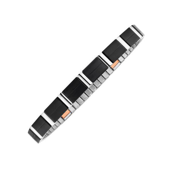 Bracelet flexi contraste matt/ brillant, noir, éléments intérieurs en cuivre