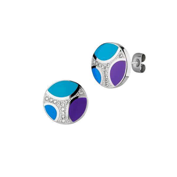 Ohrstecker Orbitas mit Magneten – silber / blau