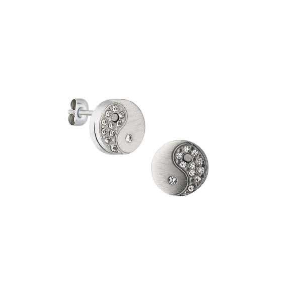 Ohrstecker Yin-Yang, matt & mit Kristallen – silber