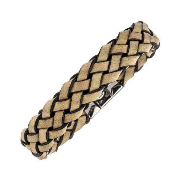 Bracelet magnétique cuir tressé couleur marron