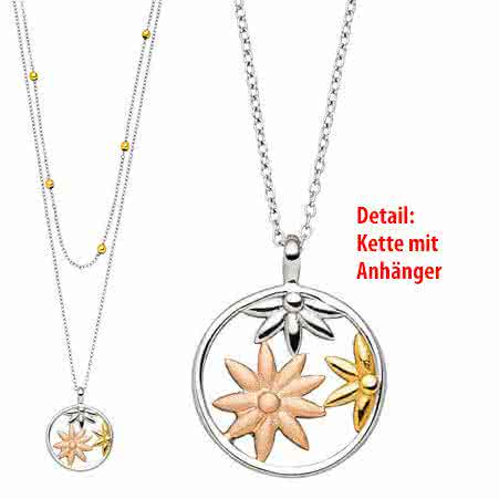 Magnetic necklace double necklace with three-coloured jasmine motif