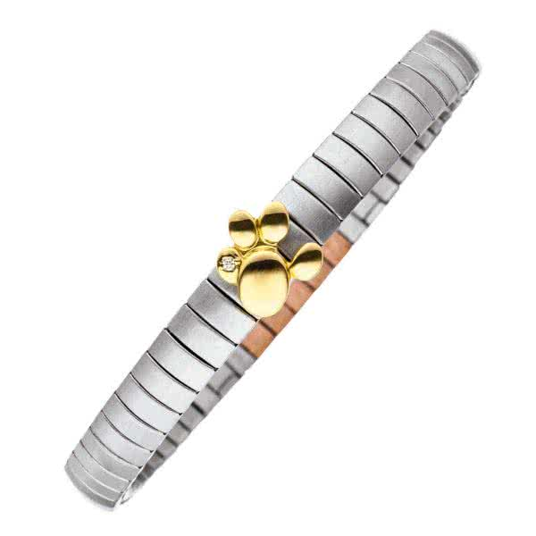 Flexi bracelet Paw silver and gold coloured